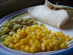 Taco, lima beans and corn