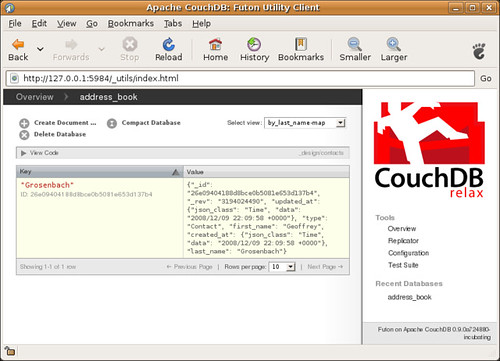 A CouchDB design view