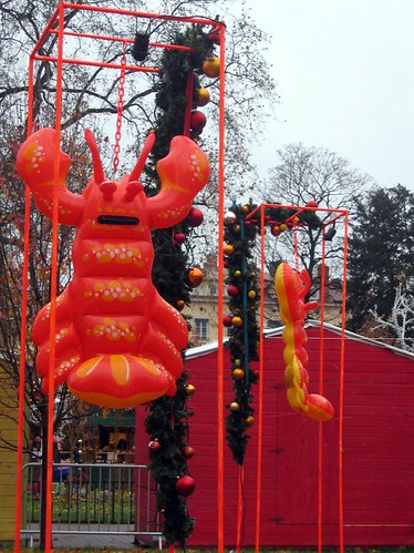 Christmas Lobsters, reminiscent of Jeff Koons installation at Versailles.