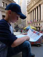 Studying NYC map in Wall Street