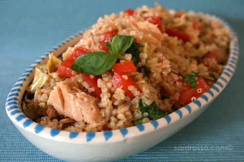 Quinoa and Farro Salad with Salmon, Artichokes and Basil