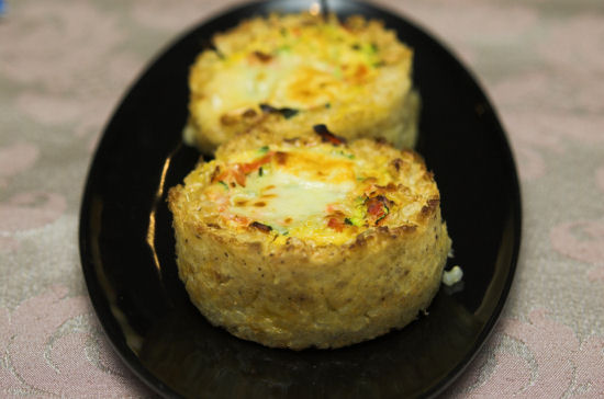 Zucchini and feta rice tarts