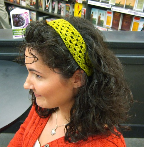 Crocheted headband, fast to work up & cute too!
