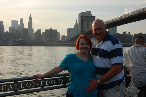 Karyl & Kurt in front of the Brooklyn Bridge
