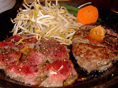 Cut Steak and Burger
