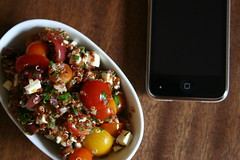 Herbed summer quinoa salad and iPhone