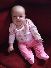 Flora in her Pooh pants