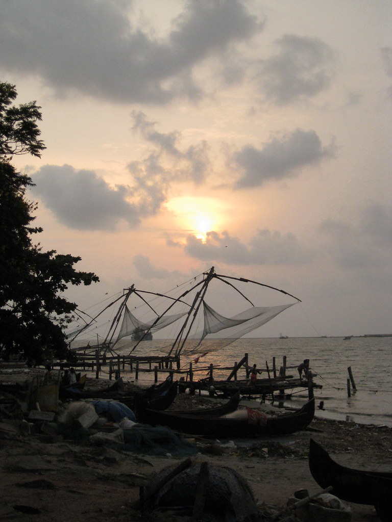 fishing nets near sundown