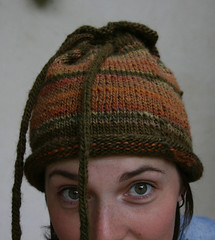 pull the drawstrings and it becomes a toque.