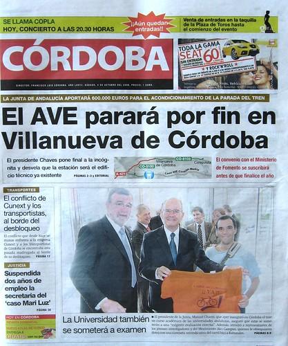 Bici Campus portada del Diario Cordoba