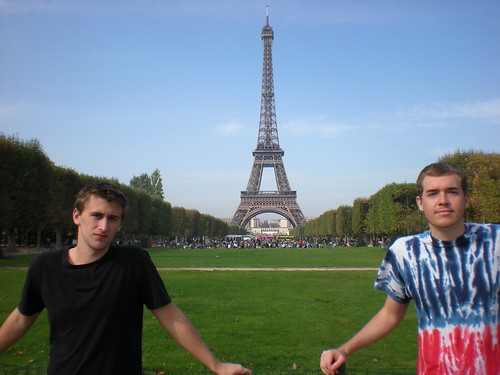 Sean Blanda (left) and I at the Eiffel Tower in Paris, France on Oct. 12, 2008.
