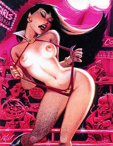 Esta ilustración de Bruce Timm se ha vuelto un icono, no me perdonaria omitir esta Vampi mostrando las teticas.