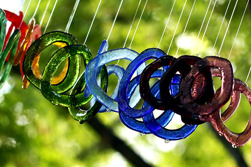 A SET OF FUSED GLASS WINDCHIMES