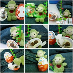 1. Teletubbie opened up his kinder 2. Lets read the instructions and fix the toy 3. Done! What a cool snake 4. Ooh the snake wants the chocolate I better eat it first 5. Yummy... 6.7...I cant have enough 8. I love Kinder I want to live in it 9. Satisfied Teletubbie!