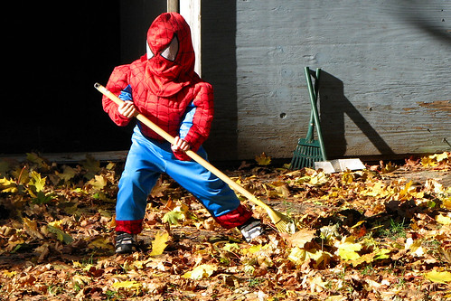 Spider-man raking leaves