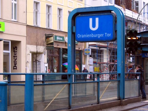Oranienburger Tor U-Bahn entrance. This is what most of the U-Bahns in Berlin look like.