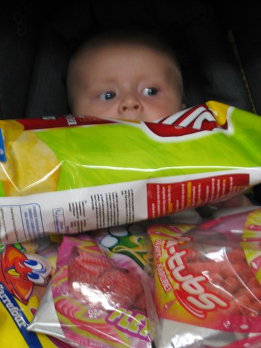 Lots of sweets and crisps... and a baby