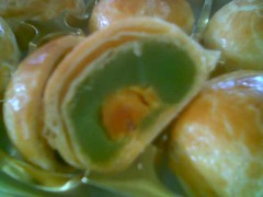 Sibu mooncakes - pandan flavour with salted egg