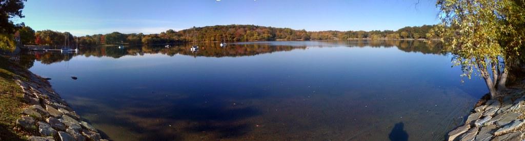 Jamaica Pond Panorama, copyright Steve Garfield.  From Flickr under Creative Commons license.