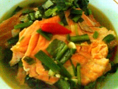 Smoked salmon in soy sauce