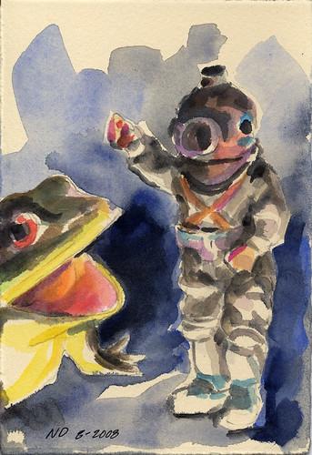 Deep Sea Diver and Frog