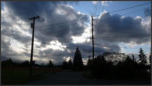 Intense evening sky and power lines, Sequim, Washington.