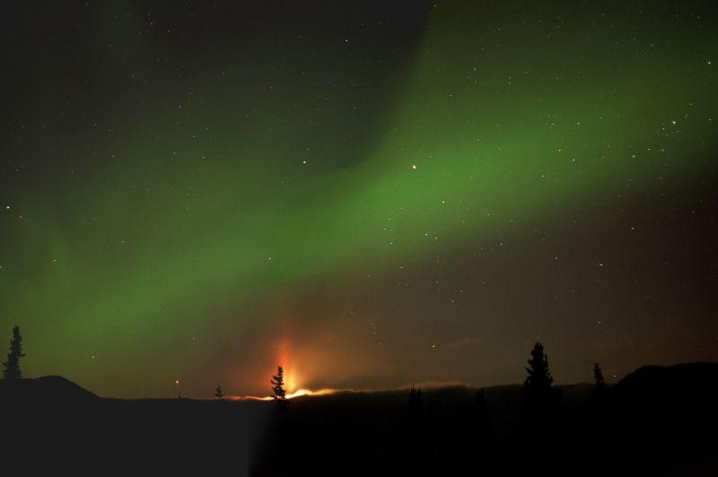 Moon Pillar and Aurora from Denali Highway