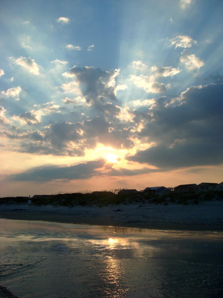 Sunset on the beach, one