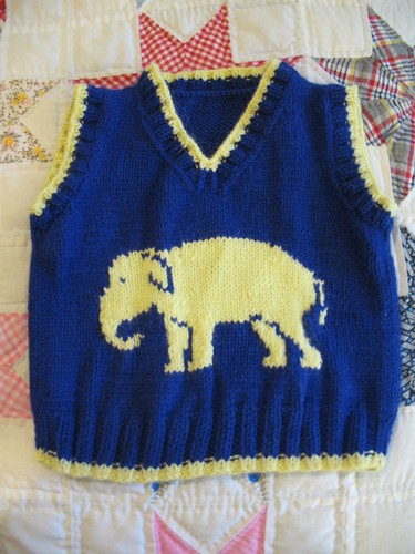 Elephant vest after blocking