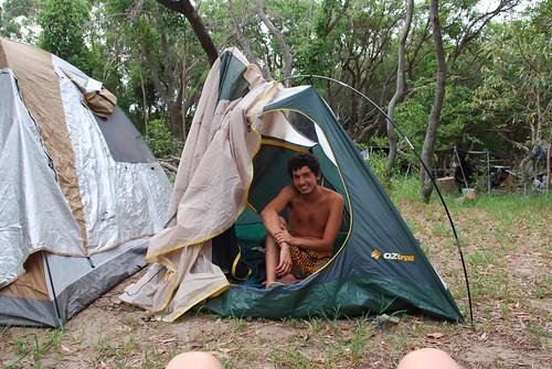 En el camping improvisado