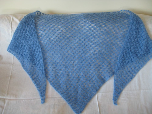 A pretty shawl - I think this pattern would be easy to memorize & work on while watching TV or what have you.
