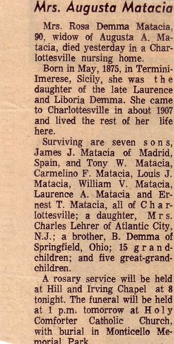 Obituary of Rosa Demma Matacia