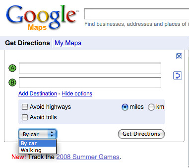 google maps walk option