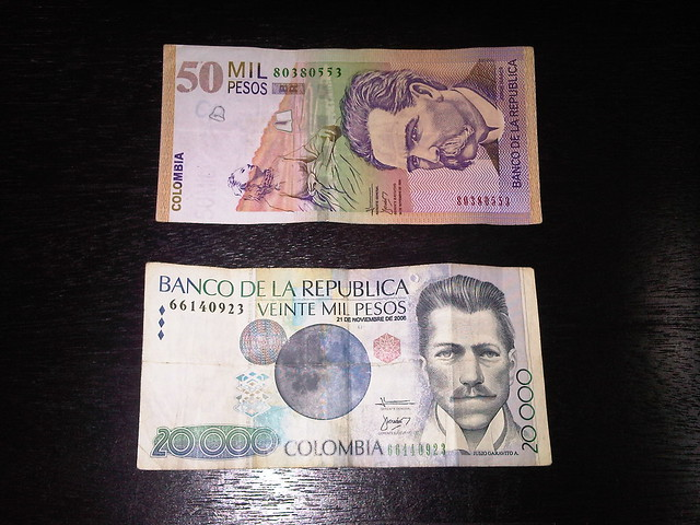 The commonly used 50,000 Mil (thousand) and 20,000 Mil Colombian Peso bills.