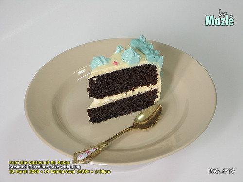 Steamed Chocolate Sponge Cake with Icing @ Flickr