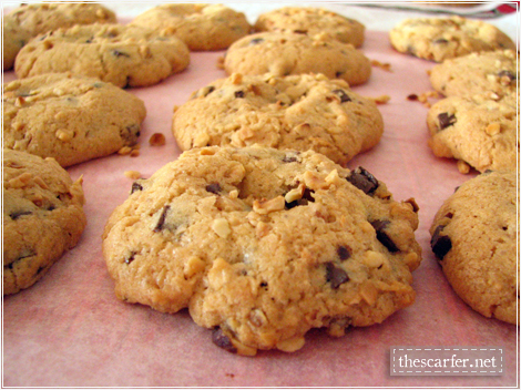 Chocolate chip & hazelnut cookies