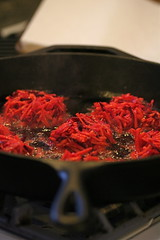 Sweet Potato Beet Latkes frying