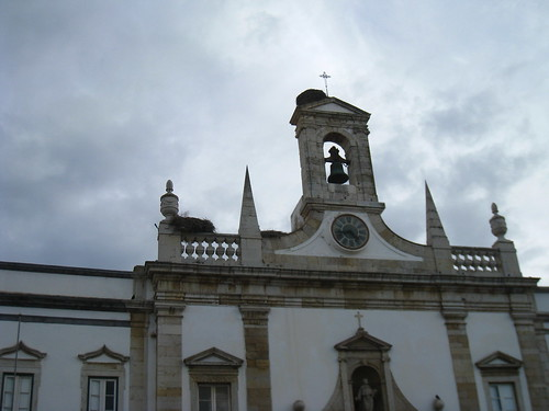 Storks nest on a church, Faro