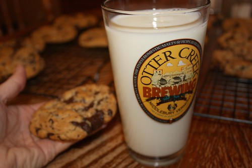 ah, thats it!  A glass of icy cold milk to wash down the warm from the oven cookies.