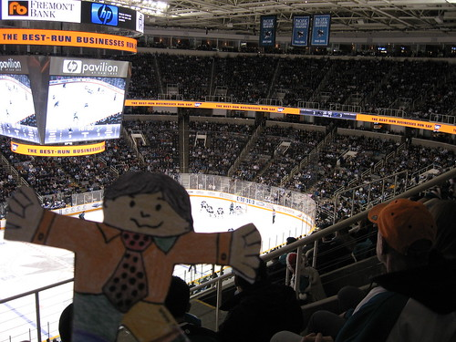 Flat Stanley at the Sharks game