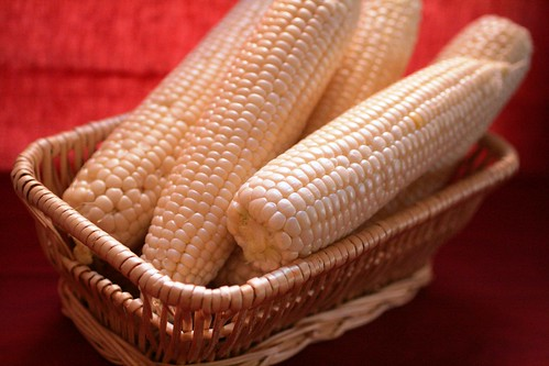 Ears of corn in basket