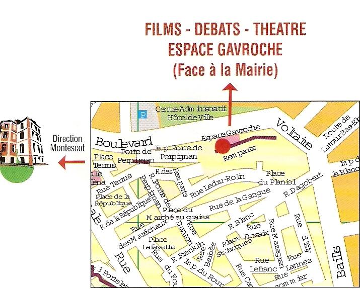 Plan d'accès espace Gavroche Elne.