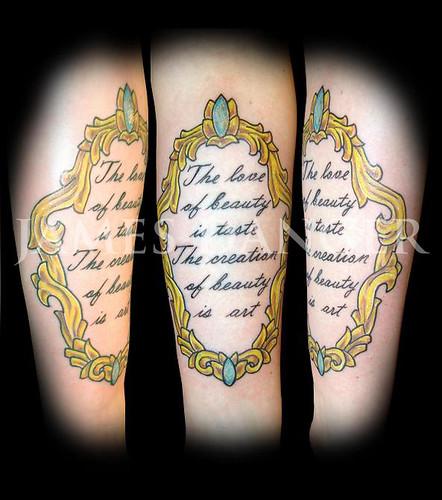 James Danger script frame tattoo
