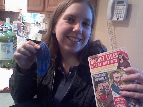 Hannah with her bookmark and book