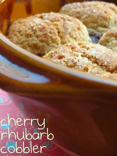 cherry rhubarb cobbler