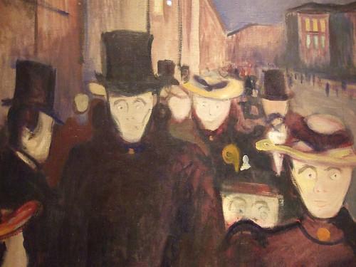 Munch: Aften på Karl Johan, detail (1892)