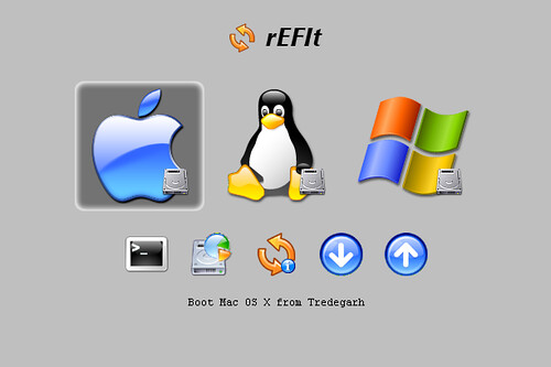 rEFIt showing Mac OS X, Ubuntu Linux, and Windows XP
