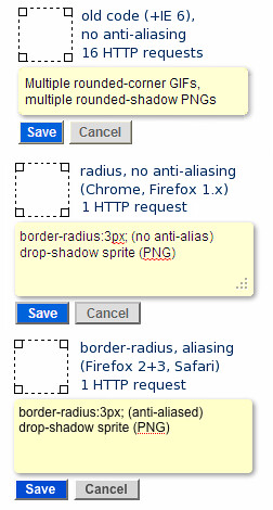 Screenshot: Saving HTTP requests with CSS and sprites