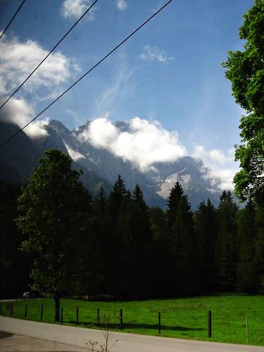 Vista del Zugspitze desde el tren de cremallera
