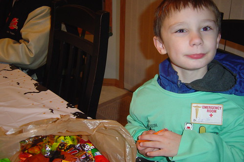 Andrew sorting through his candy